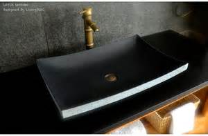 24 quot black granite natural stone vessel sink lotus shadow