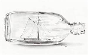 Boat Stuck In A Bottle Drawing by Meagan Visser