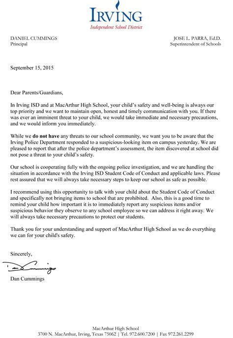 macarthur high school principals letter  parents