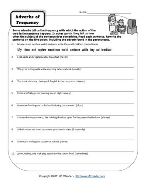 adverbs of frequency free printable adverb worksheets