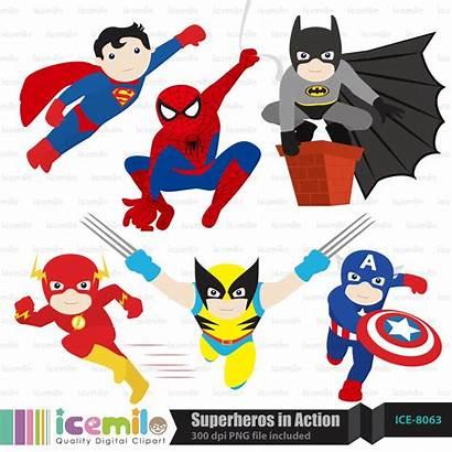 Superhero Clipart Superheroes Action Marvel Digital Cartoon
