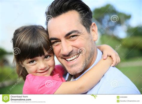 Little Girl Hugging Embracing Her Father Royalty-free