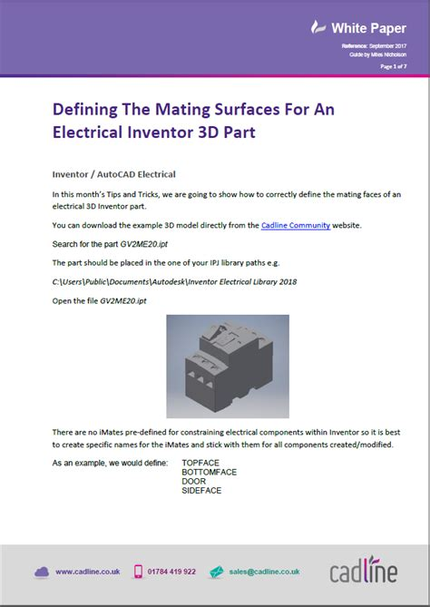 inventor 2018 defining the mating surfaces for an electrical inventor 3d part cadline community