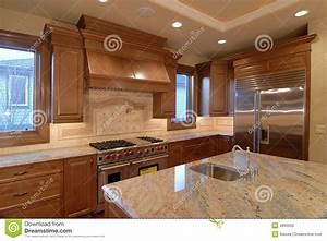 Dessus De Cuisine De Granit Contre Photo Stock Image Du