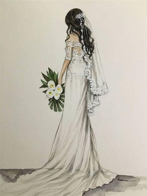 Bridal custom fashion illustration/wedding drawing Abiti