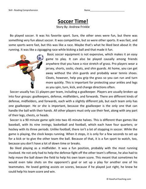 Reading Comprehension Worksheet  Soccer Time