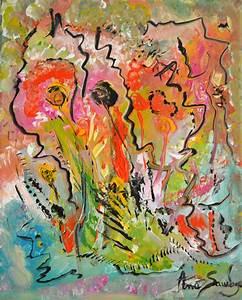 Tableau Fleurs Moderne : peinture abstraite contemporaine et moderne rouge orange jaune ~ Teatrodelosmanantiales.com Idées de Décoration