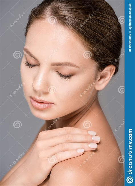 Portrait Of Beautiful Woman With Nude Makeup Stock Image