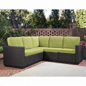 Home styles riviera five seat l sofa in green apple for Apple green sectional sofa