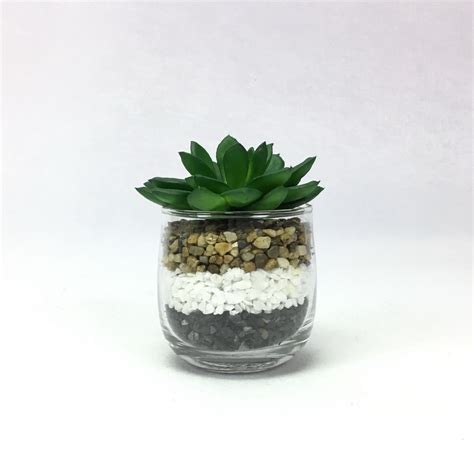 พืชปลอม กุหลาบหินปลอมพร้อมแก้ว แต่งด้วยหิน 3 สี 3 ชั้น ...