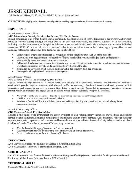 beautiful security guard resume sle facetous security