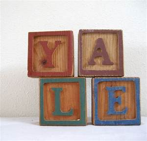 wood block letters y a l e decorative wooden carved alphabet With wooden block letters that stand