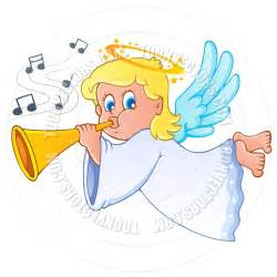 Cartoon Angel Blowing Trumpet