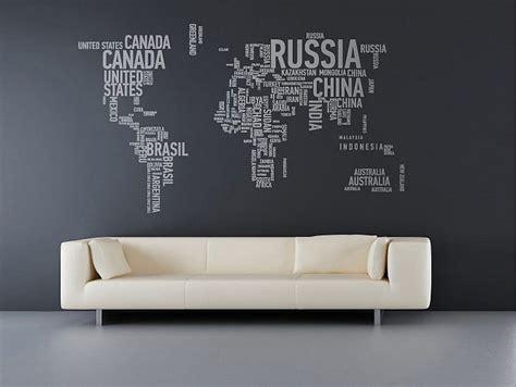 wall sticker world map interior design ideas