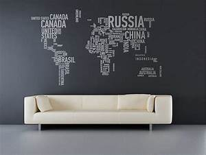 wall sticker world map interior design ideas With awesome wall decal directions