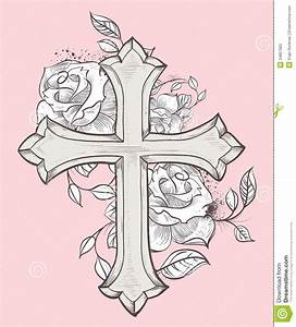 Pix For > Cross With Roses And Banner | Tattos I