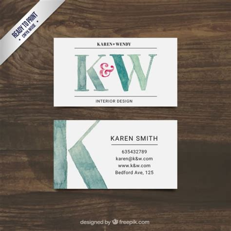 hand painted interior design business card  vector