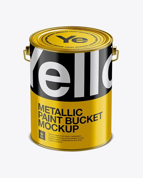 High quality paint bucket tin mockup, easy to use and fully editable mockup. 5L Glossy Metallic Paint Bucket Mockup - Front View (High ...