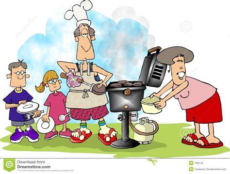 Family Bbq Stock Illustration. Illustration Of Propane