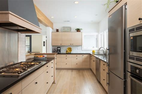 ash cabinets kitchen contemporary with light wood floor