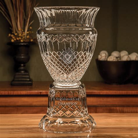 honors pedestal trophy sterling cut glass