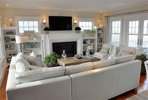 living room layout cottage with neutral coastal decor home