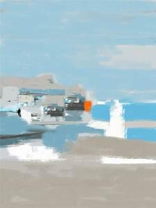 marine tableau abstrait bleu gris paysage horizon de mer With gris bleu peinture 2 tableau jaune creation abstraite format vertical deco