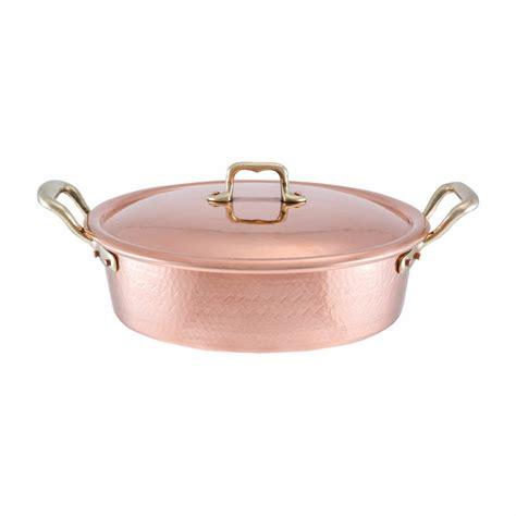 copper pan  lid  tin lining cm diameter