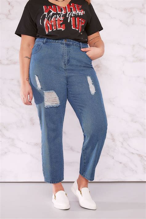 LIMITED COLLECTION Blue Distressed Mom Jeans Plus size 16 to 32