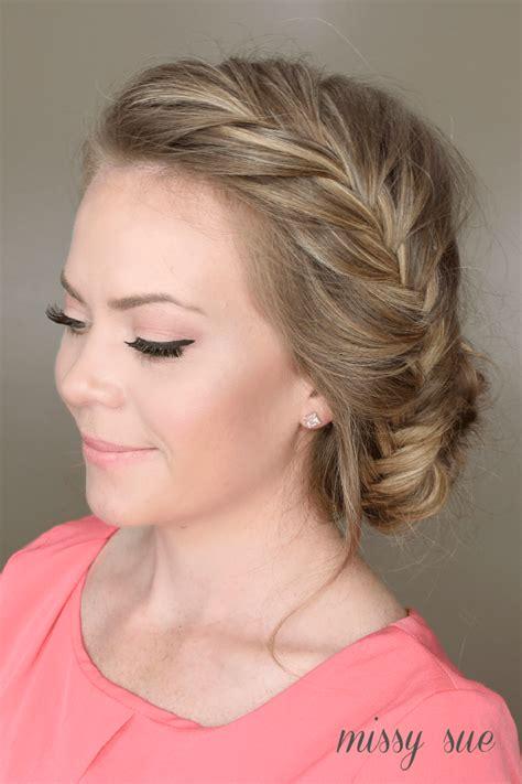 hair up styles bun fishtail braid braided bun 4646