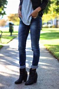 Black booties Jeans and Black leather jackets on Pinterest