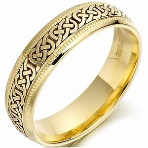 Irish wedding ring mens gold celtic knots beaded wedding for Celtic wedding rings for men