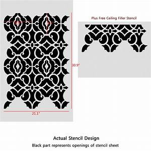 Geometric Allover Pattern Wall Stencil Emily for DIY decor ...