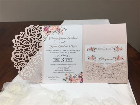 gorgeous blush shimmer laser cut wedding invitations