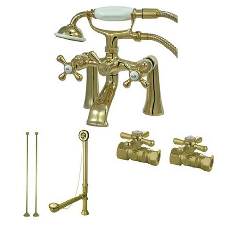 aqua 3 handle deck mount claw foot tub faucet with shower combo set in polished brass