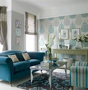 Blue wallpaper for living room decosee