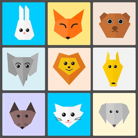 cute animal heads grid vector clipart image  stock
