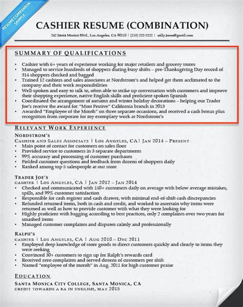 qualifications summary resume examples how to write a summary of qualifications resume companion