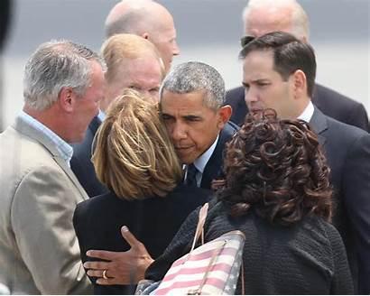 Obama President Victims Orlando Hugs Barack Today