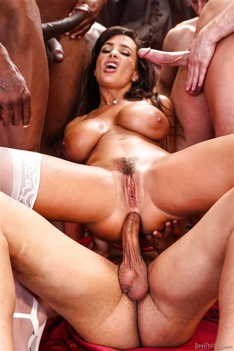 Sexy Slut Gets double penetration Wearing Stockings In Interracial Gangbang