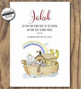 Arche Noah Basteln : das geschenk zur taufe arche noah von ein personalisierter druck mit bibelspruch ~ Yasmunasinghe.com Haus und Dekorationen