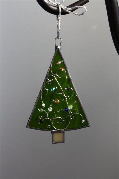 christmas tree stained glass ornament