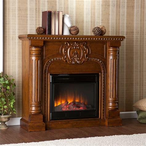 sei romano electric fireplace  remote antique oak ornate