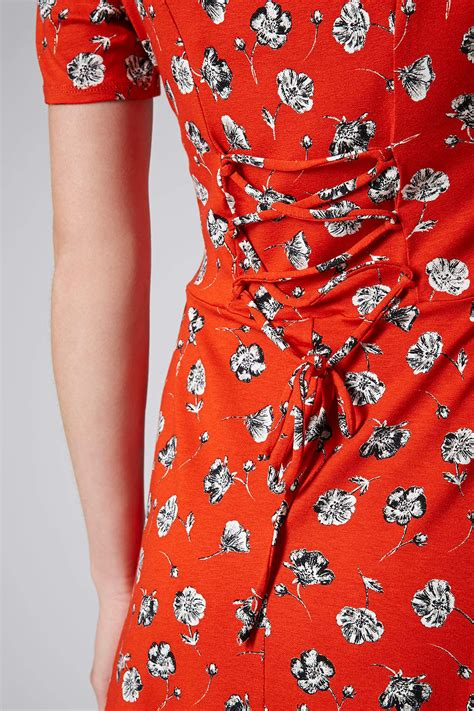 lyst topshop tall pansy floral dress  red