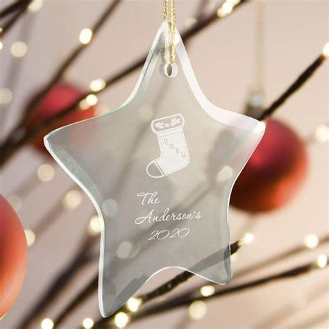 star beveled glass ornaments engraved christmas gifts