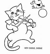 Coloring Diddle Hey Fiddle Cat Clipart Template Printable Popular Coloringhome Library sketch template