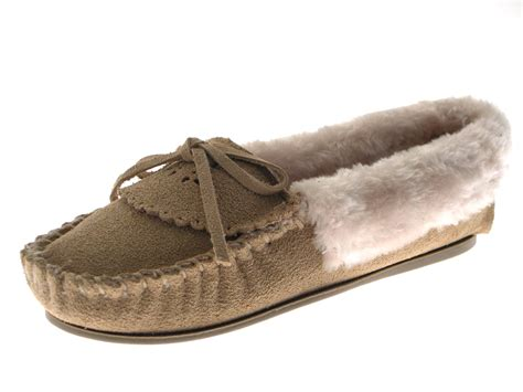 Womens Genuine Suede Leather Faux Fur Lining Moccasin