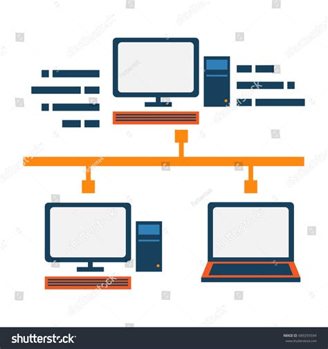 Network Server Diagram Icon by Local Area Network Abstract Icon Server Stock Vector