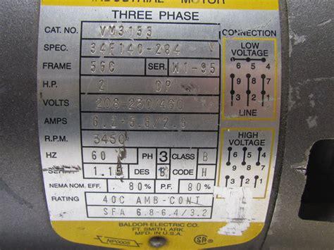 baldor vm    phase ac electric motor hp