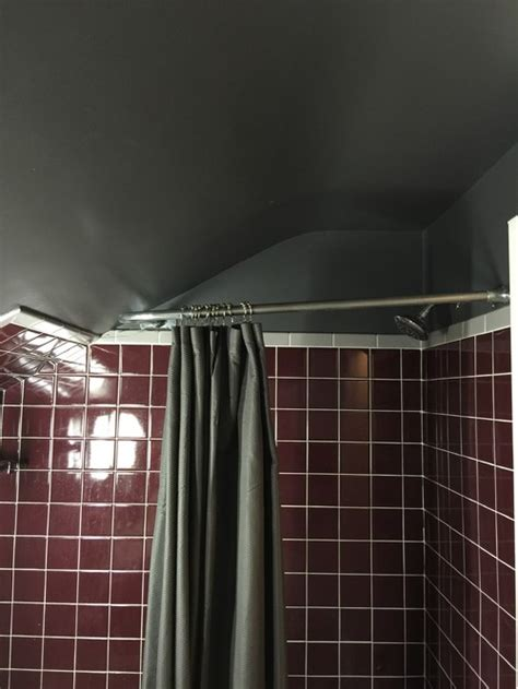 shower rod  sloped ceiling